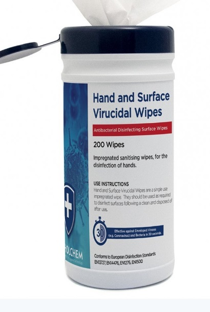 Hand and Surface Virucidal Wipes x 200